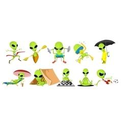 set of green aliens sport vector image vector image