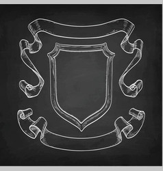 chalk sketch of vintage ribbons and shield vector image vector image