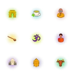 Country of India icons set pop-art style vector image