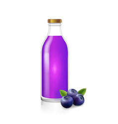 glass bottle of blueberry juice berry drink vector image vector image