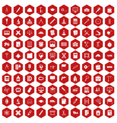 100 compass icons hexagon red vector