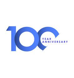 100 years anniversary celebration blue gradient vector