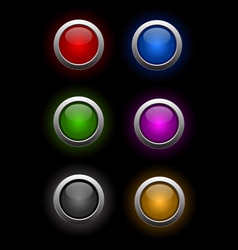 6 neon buttons vector image
