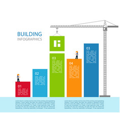 6 step chart info graphic tower crane vector