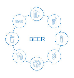 8 beer icons vector