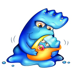 A caring blue monster vector image