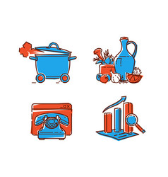 a set icons on healthy food icons in a flat vector image
