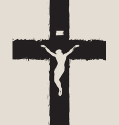 abstract black cross with a crucified jesus christ vector image