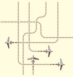 Aircrafts tracking flat vector