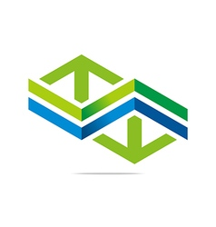 arrow letter line hexagon design vector image