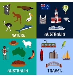Australia flat travel symbols and icons vector