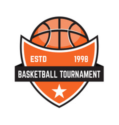 basketball sport emblems design element for vector image