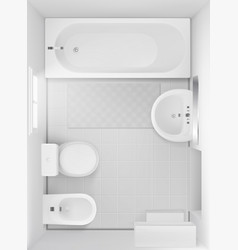 Bathroom interior top view room design project vector