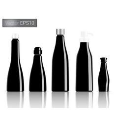 Black bottle set background vector