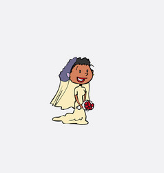 Black bride with veil posing happy isolated vector