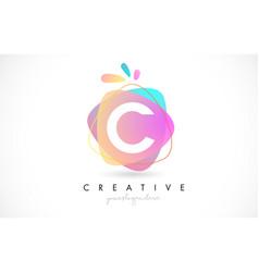 C letter logo design with vibrant colorful splash vector