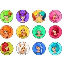 Cartoon Set of Zodiac Signs Cute Girls vector image