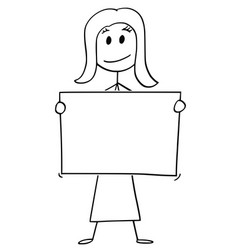 cartoon woman or businesswoman holding empty vector image