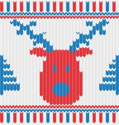 Christmas Knitted background with deer trees and vector image