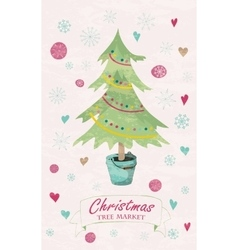 Christmas tree market lettering vector image
