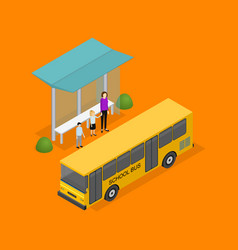 city public transport 3d isometric view vector image