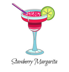 cocktail drink strawberry margarita with lime and vector image