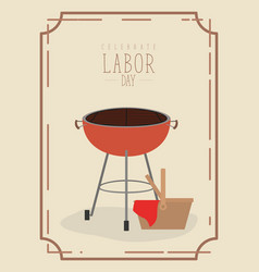 color poster frame with barbecue grill and basket vector image