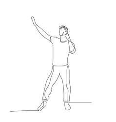 continuous one line dancing man with rised up hand vector image