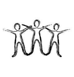 contour people raise their hands vector image