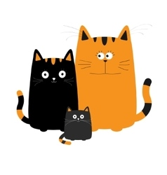 Cute cartoon funny cat family mother father vector