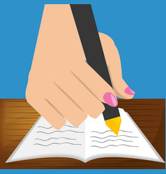 cute hand with pen and paper test vector image