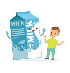 cute happy little boy and funny milk carton box vector image