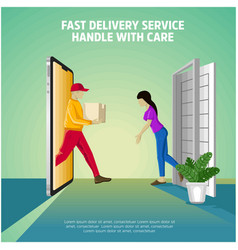 delivery service handle with care vector image