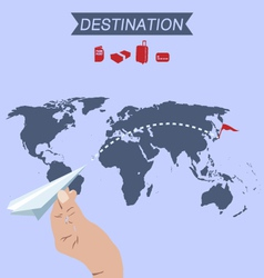 Destination paper plane on world map vector