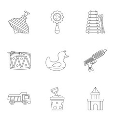 different kids toys icon set outline style vector image