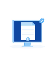 document download button on computer screen vector image