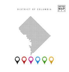 Dots pattern map washington dc stylized vector