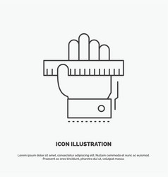 education hand learn learning ruler icon line vector image