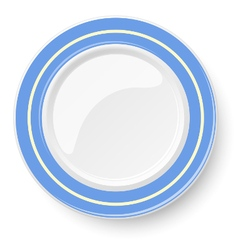 Empty plate with blue border isolated on a white vector image