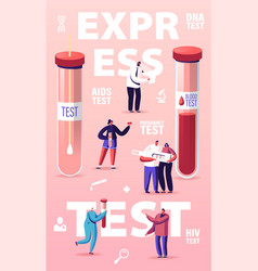 Express blood test concept tiny characters at vector