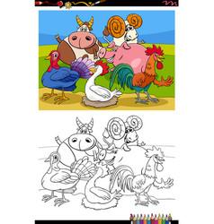 farm animals group cartoon coloring book page vector image