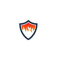 Fire shield logo icon design vector