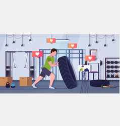 Fitness blogger flipping a tire trainer streaming vector