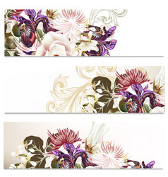 Floral backgrounds set with flowers vector