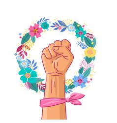 Floral symbol feminism movement white woman vector