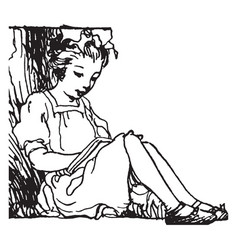 Girl reading art vintage engraving vector