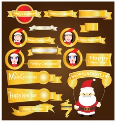 Gold ribbons mery christmas and happy new year vector