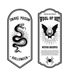 Halloween poison label wool bat snake poison vector