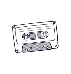 hand drawn doodle retro audio cassette vector image
