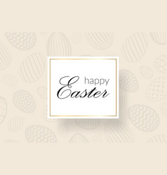 Happy easter background decorative text eggs vector